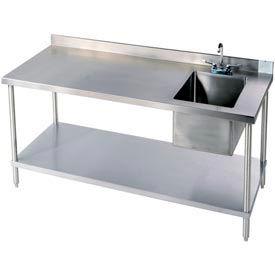 "Aero Manufacturing 2TSB-3048T100 48""W X 30""D 14 Gauge Stainless Workbench w/ Shelf & Center Sink"