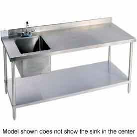 "Aero Manufacturing 2TSB30-48T100 48""W X 30""D 14 Gauge Stainless Workbench w/ Shelf & Left Sink"