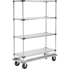 Nexel® Galvanized Shelf Truck with Dolly Base 60x24x70 1600 Pound Capacity