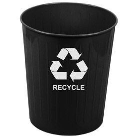 Round Steel Recycling Wastebasket - 6-1/2 Gallon Capacity