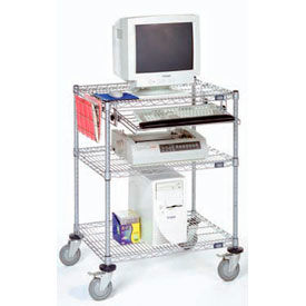 """Nexel™ 3-Shelf Mobile Wire Computer LAN Workstation w/Keyboard Tray, 30""""W x 24""""D x 39""""H, Chrome"""