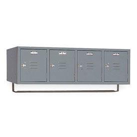 Lyon Locker DD5991CRSU Four Person Wall 45x18x13-3/4, 4 Doors Hasp Handle, Assemble Gray