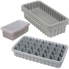 "Dandux Dividable Nesting Plastic Box 50P1811070 -  17-3/4""L x 10-7/8""W x 7""H, Gray - Pkg Qty 5"