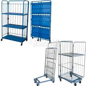 Vestil Folding Roller Container Shelf Trucks