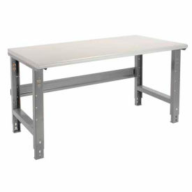"""72""""W X 30""""D Plastic Laminate Safety Work Bench - Adjustable Height - 1-5/8"""" Top - Gray"""