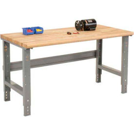 """60""""W X 30""""D Ash Butcher Block Safety Edge Workbench - Adjustable Height - 1 3/4"""" Top - Gray"""