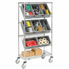 """Easy Access Slant Shelf Chrome Wire Cart With 12 3-1/2""""H Grid Containers Gray, 36""""L x 18""""W x 63""""H"""