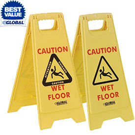 Global® Wet Floor Caution Signs