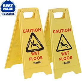 Global® Wet Floor Caution Signs