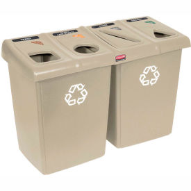 Rubbermaid Glutton® Waste and Recycling Station - Beige