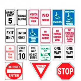 High Visibility Parking Lot Traffic Signs & Steel Sign Posts