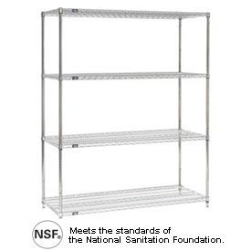 Nexel Stainless Steel Wire Shelving Starter Unit 60x24x74