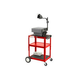 Red Big Wheel Steel Audio Visual & Instrument Cart