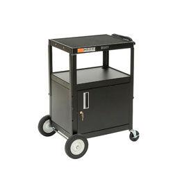 Black Big Wheel Steel Audio Visual & Instrument Security Cart