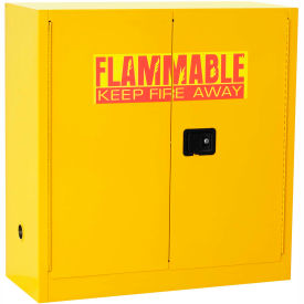 "Global™ Flammable Liquid Cabinet - 30 Gallon - Manual Close Double Door - 43""W x 18""D x 44""H"