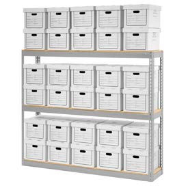 """Record Storage Open With Boxes 72""""W x 15""""D x 60""""H"""