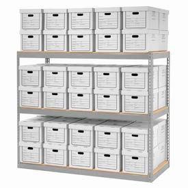 """Record Storage Rack With Boxes 72""""W x 30""""D x 60""""H"""