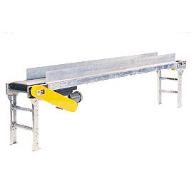 "Omni Metalcraft Powered 24""W x 30'L Belt Conveyor with 6""H Side Rails BHSE24-0-32-F60-0-0.5-4-SIDES"