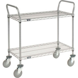 Nexelate Wire Shelf Utility Cart 48x24 2 Shelves 800 Lb. Capacity