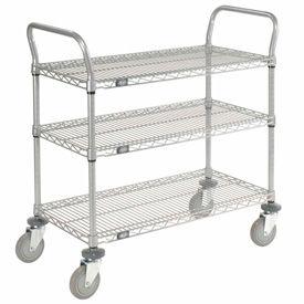 Nexelate Wire Shelf Utility Cart 36x18 3 Shelves 800 Lb. Capacity