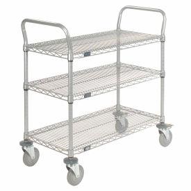 Nexelate Wire Shelf Utility Cart With Brakes 48x24 3 Shelves 800 Lb. Capacity