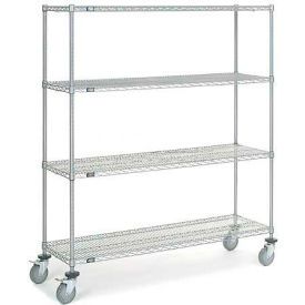 Chrome Wire Shelf Truck 60x18x69 1200 Pound Capacity With Brakes