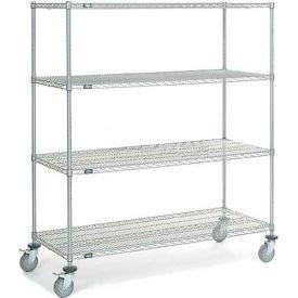 "Nexel® Chrome Wire Shelf Truck 60"" W x 24"" D x 69"" H 1200 Lb. Capacity"