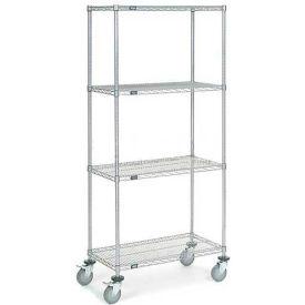 Nexel® Chrome Wire Shelf Truck 36x18x80 1200 Pound Capacity with Brakes