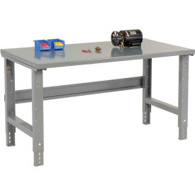 """48""""W X 30""""D Steel Square Edge Top Workbench - Adjustable Height - 1 3/4"""" Top - Gray"""