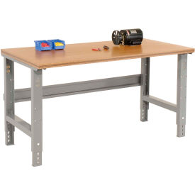 """72""""W x 36""""D Shop Top Square Edge Work Bench - Adjustable Height - 1-1/2"""" Top - Gray"""