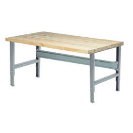 "72""W X 36""D Maple Butcher Block Square Edge Work Bench - Adjustable Height - 1 3/4"" Top - Gray"