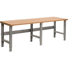 """96""""W X 30""""D Shop Top Square Edge Work Bench - Adjustable Height - 1-1/2"""" Top - Gray"""