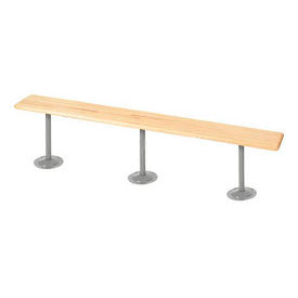 "Locker Bench Hardwood Top w/Steel Tube Pedestals, Bolt Down Style, 120""W x 9-1/2""D x 17""H"