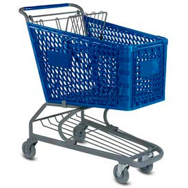 VersaCart® Blue Plastic Shopping Cart 5.2 Cu. Ft. Capacity 103-145-DBL-BH