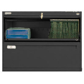"Deluxe Retracting Front Lateral File Cabinet 36""W X 28""H - Black"