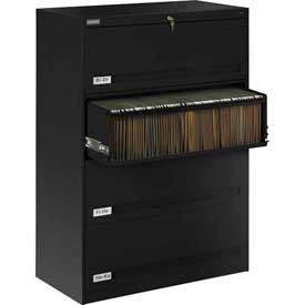 "Deluxe Retracting Front Lateral File Cabinet 36""W X 52""H - Black"