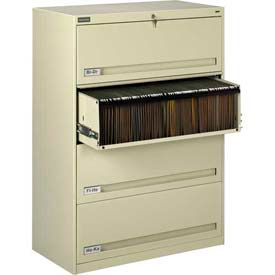 "Deluxe Retracting Front Lateral File Cabinet 36""W X 52""H - Putty"
