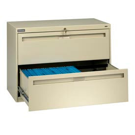 """Deluxe Fixed Front Lateral File Cabinet 42""""W X 28""""H - Putty"""