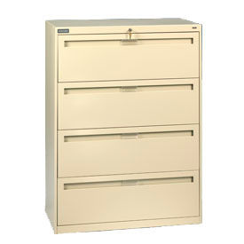 "Deluxe Fixed Front Lateral File Cabinet 42""W X 52""H - Putty"
