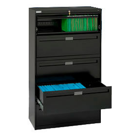 """Deluxe Fixed Front Lateral File Cabinet 42""""W X 65""""H - Black"""
