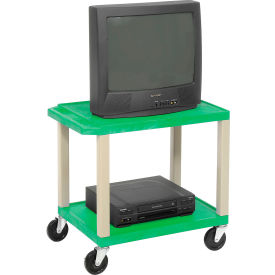 Plastic Utility Cart 2 Shelves Green