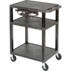 Plastic Utility Cart 3 Shelves Black