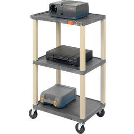 Plastic Utility Cart 3 Shelves Gray