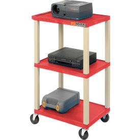 Plastic Utility Cart 3 Shelves Red