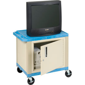Plastic Utility Cart 2 Shelves Blue With Security Cabinet