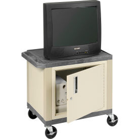 Plastic Utility Cart 2 Shelves Gray With Security Cabinet