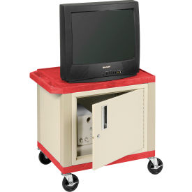 Plastic Utility Cart 2 Shelves Red With Security Cabinet
