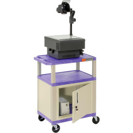 Plastic Utility Cart 3 Shelves Purple With Security Cabinet