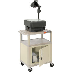 Plastic Utility Cart 3 Shelves Putty With Security Cabinet