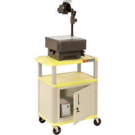 Plastic Utility Cart 3 Shelves Yellow With Security Cabinet